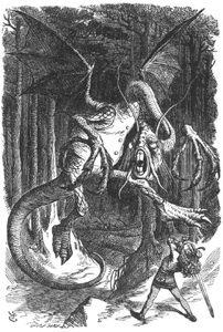 Illustration of the poem Jabberwocky A work by English illustrator Sir John Tenniel (1820-1914). First published in Carroll, Lewis. 1871. Through the Looking-Glass, and What Alice Found There.